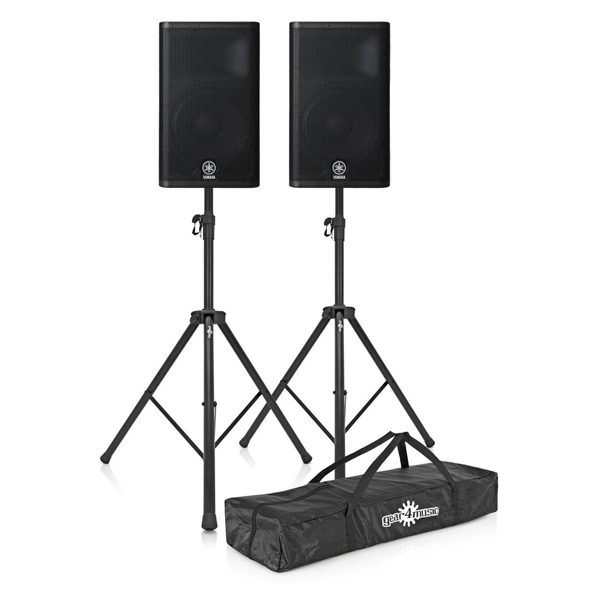 DISC Yamaha DSR112 Active PA Bundle With Speaker Stands