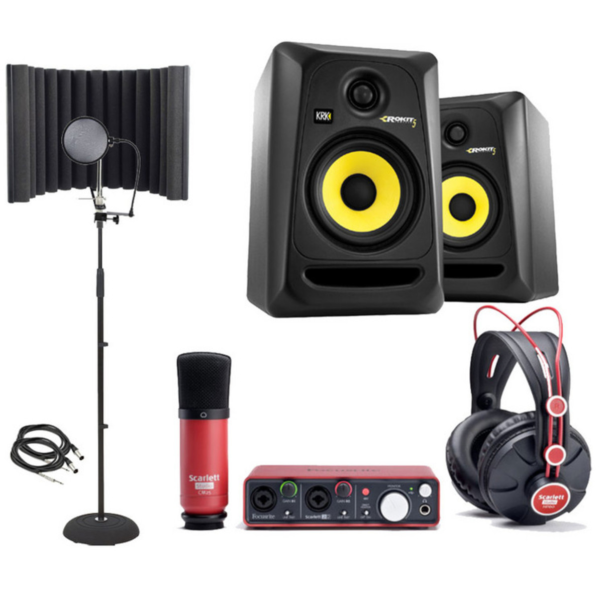 pack d 39 enregistrement studio focusrite scarlett krk rp5 moniteurs studio. Black Bedroom Furniture Sets. Home Design Ideas