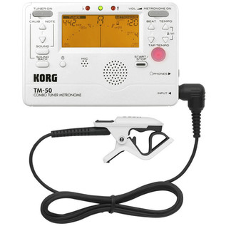 Korg TM-50C Combo Tuner, Metronome and Contact Mic, Pearl White