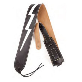 Fender Leather Lightning Bolt Guitar Strap, Black