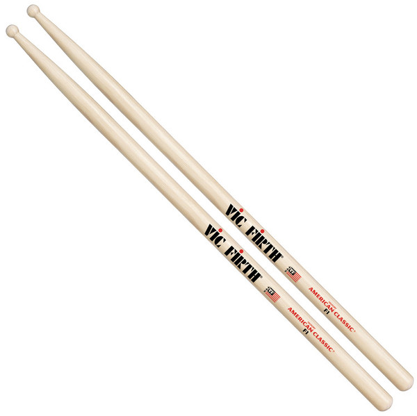 Vic Firth American Classic F1 Hickory Drumsticks, Wood Tip