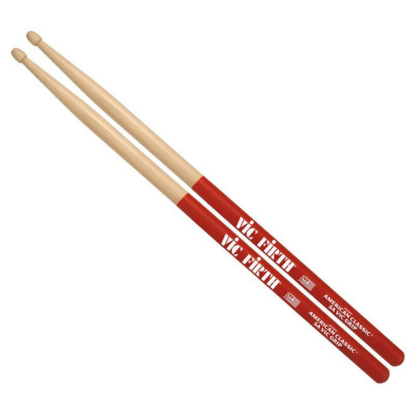 Vic Firth American Classic 5BVG Drum Sticks, Wood Tip with Vic Grip