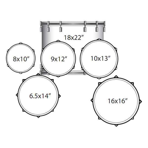 Disc Ludwig Elements Lacquer Power Acoustic Drum Kit Dark Brown At