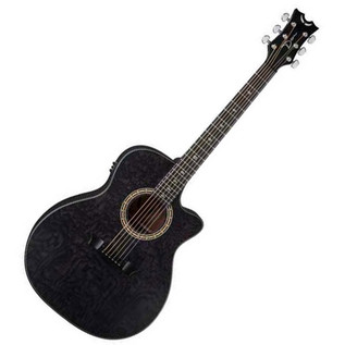 Dean Exotica Ultra Quilted Ash Electro Acoustic Guitar, Trans Black