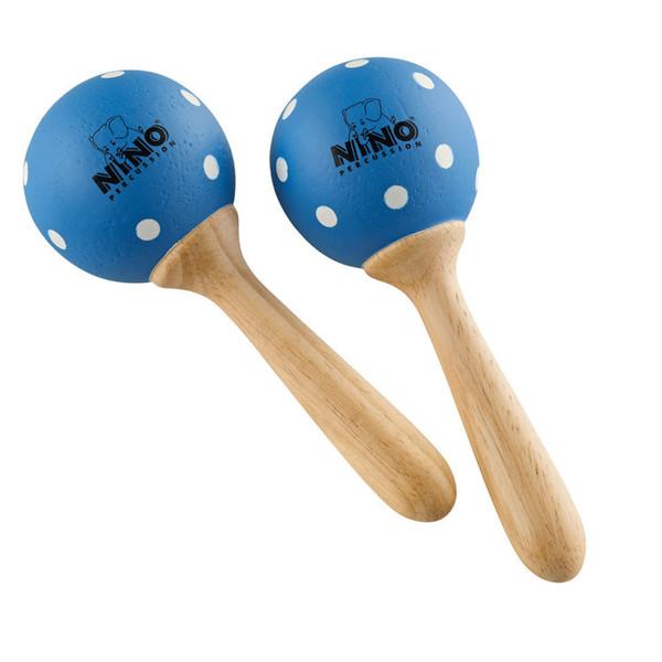 Meinl NINO7PD-B Percussion Wood Maracas Blue/White Polka Dots, Small