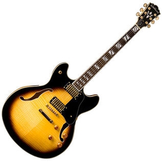 Washburn HB35 Hollow Body Guitar, Tobacco Sunburst