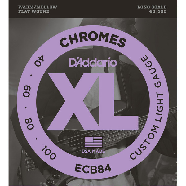 D'Addario ECB84 Chromes Bass Guitar Strings, Custom Light 40-100 Long