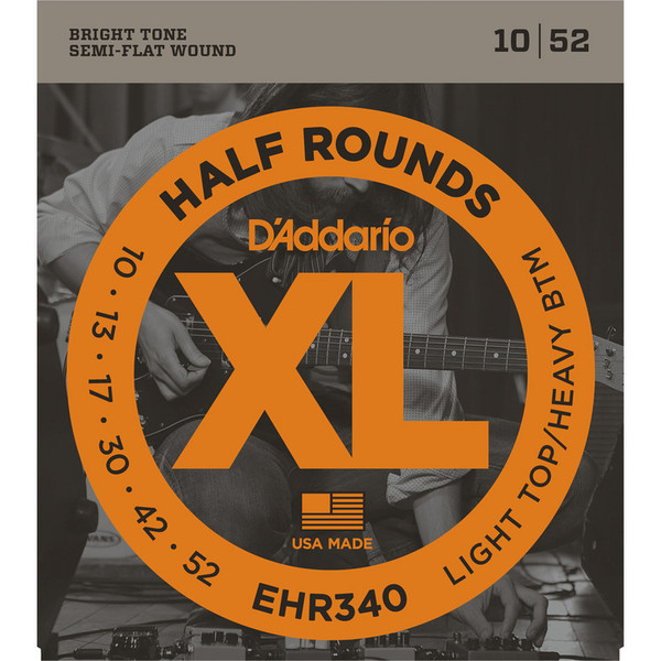 D'Addario EHR 340 Half Round Electric Guitar Strings, 010 -052