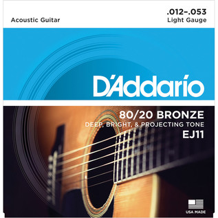 D'Addario EJ11 80/20 Bronze Acoustic Guitar Strings, Light, 12-53