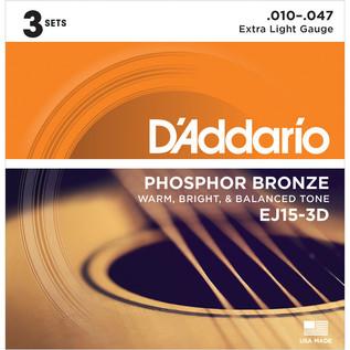 D'Addario EJ15 Phosphor Bronze, Extra Light, 10-47 x 3 Pack