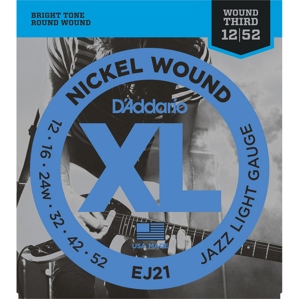 D'Addario EJ21 Electric Guitar Strings, Jazz Light 12-52