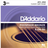 D'Addario EJ26 Bronze de fósforo, Custom Light, 11-52 x Pack 3