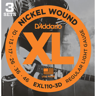 D'Addario EXL110 Nickel Wound, Regular Light, 10-46 x 3 Pack