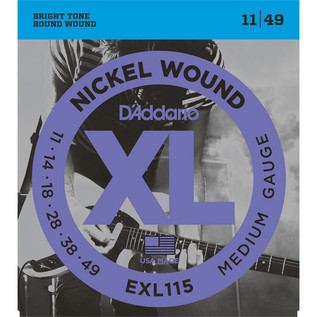 D'Addario EXL115 Electric Guitar Strings, Medium/Blues-Jazz 011-049