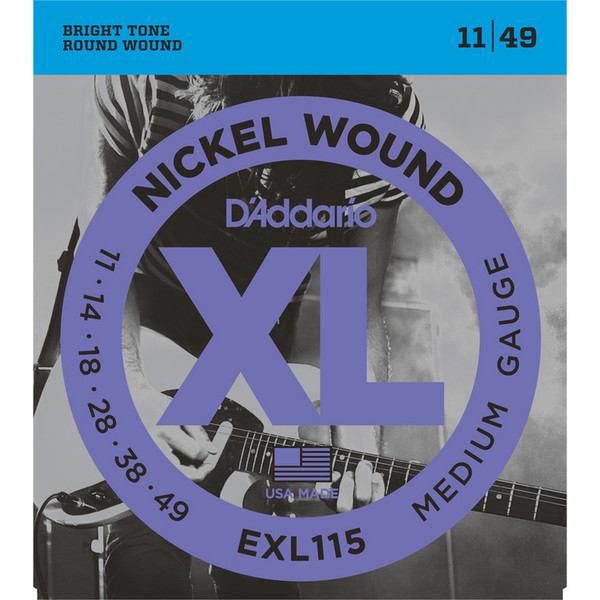 D'Addario EXL115 Electric Guitar Strings, Medium/Blues-Jazz 011-049