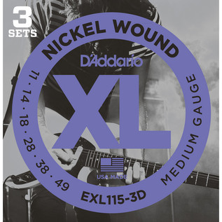 D'Addario EXL115 Nickel Wound, Medium/Blues-Jazz Rock, 11-49 x 3 Pack