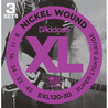 D'Addario EXL120 Nickel Wound Super Light, 3 Sets, Cal. 9-42