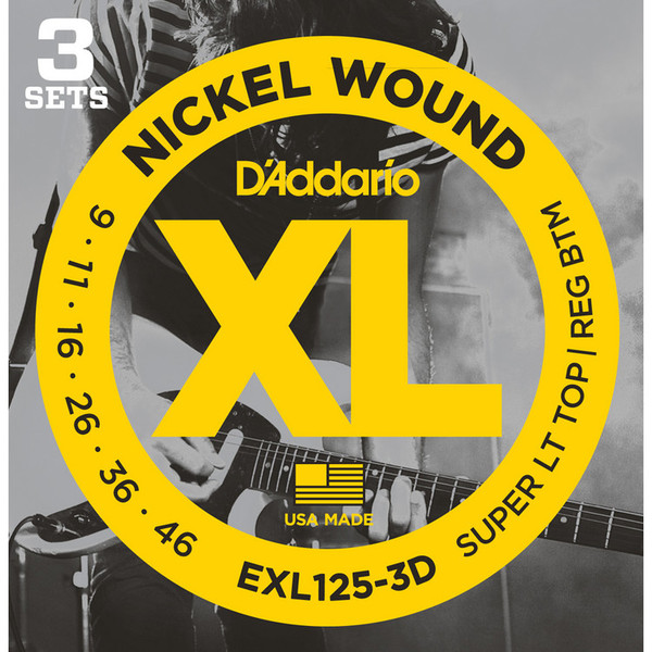 D'Addario EXL125 Nickel Wound; 9-46 x 3 Pack