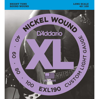 D'Addario EXL190 Bass Guitar Strings, Custom Light 40-100, Long Scale