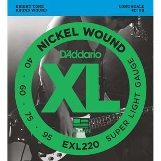 D'Addario EXL220 Bass Guitar Strings, Super Light 40-95, Long Scale