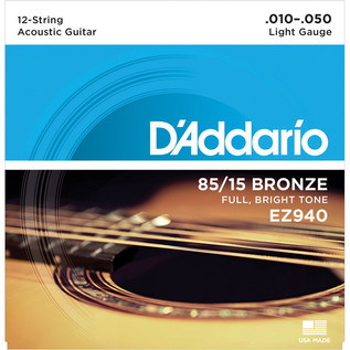 D'Addario EZ940 85/15 Great American Bronze, 12-String Light, 010-050