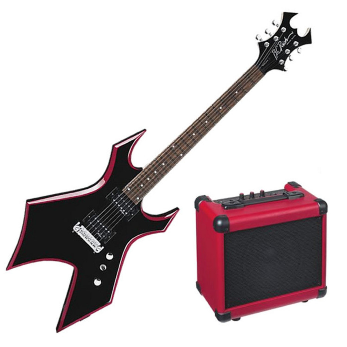 disc bc rich red bevel electric guitar warlock pack  bevelpack  loading zoom