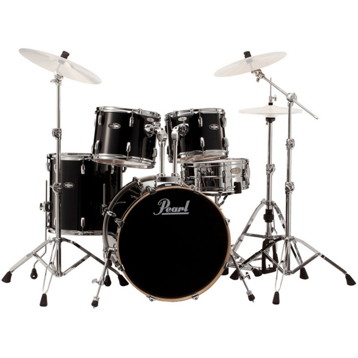 Pearl Vision Birch Lacquer Vbl 22 Rock Drum Kit Black Ice At