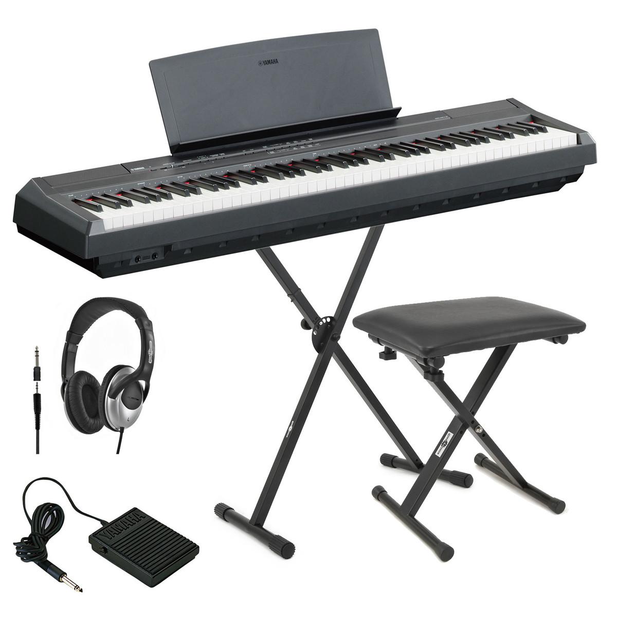 discyamaha p105 digital piano black inc stand bench headphones op. Black Bedroom Furniture Sets. Home Design Ideas