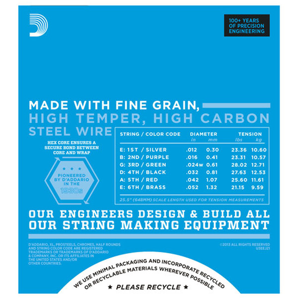 D'Addario EXL110-7 7-String Electric Guitar String Set, Reg Light