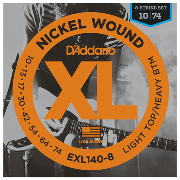 D'Addario EXL140-8 Nickel Wound Light Top/Heavy Bottom 8-String 10-74