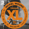 D'Addario EXL140 Nickel Wound Light Top/Heavy Bottom, 3 Sets, Cal. 10-52