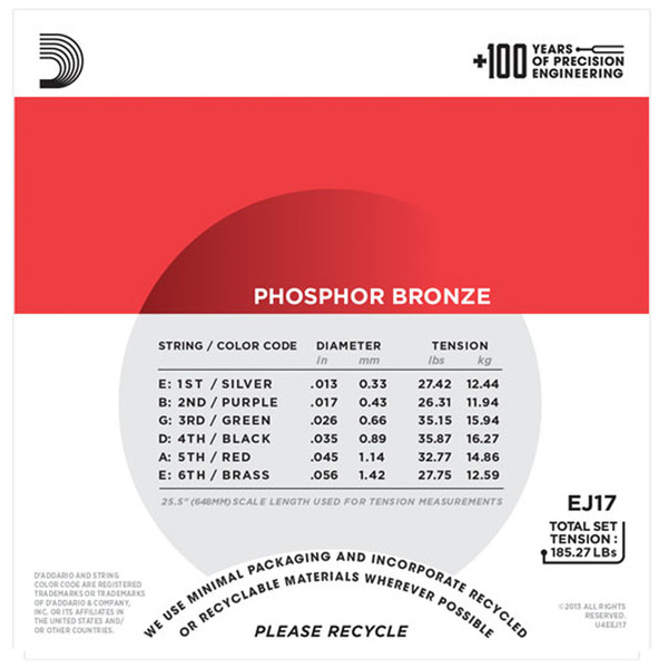 D'Addario EJ17 Phosphor Bronze, Medium, 13-56