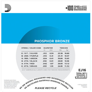 D'Addario EJ16 Phosphor Bronze, Light, 12-53 x 3 Pack