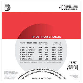 D'Addario EJ17 Phosphor Bronze, Medium, 13-56 x 3 Pack
