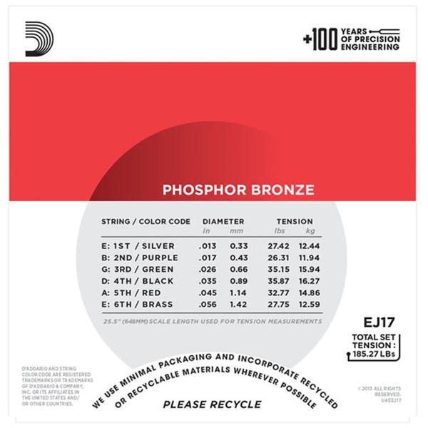 D'Addario EJ17 Phosphor Bronze, Medium, 13-56 x 3 Pack