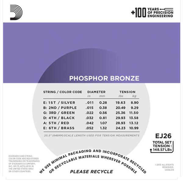 D'Addario EJ26 Phosphor Bronze, Custom Light, 11-52 x 3 Pack