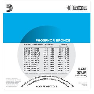 D'Addario EJ38 12-String Phosphor Bronze, Light, 10-47