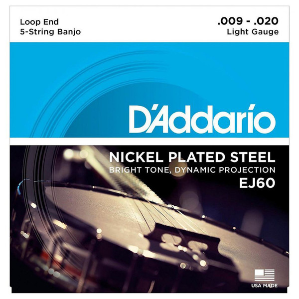 D'Addario EJ60 5 String Banjo Strings Nickel, Light 9-20