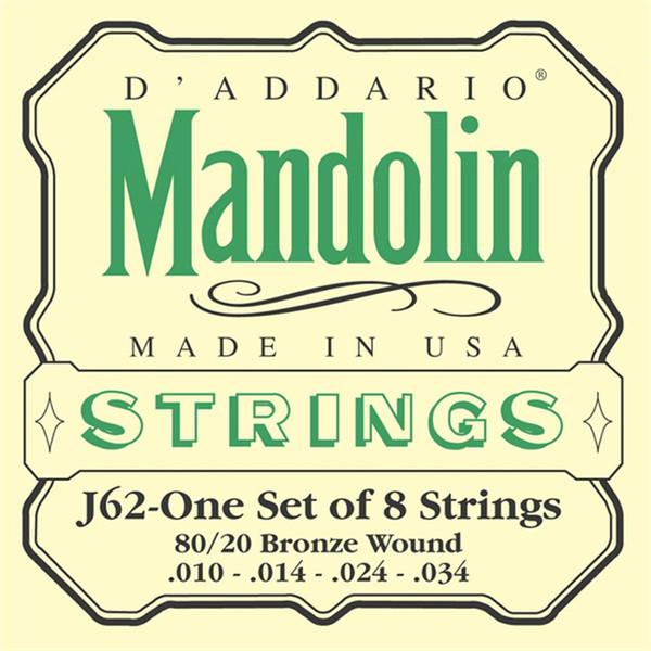 D'Addario J62 80/20 Bronze Mandolin Strings, Light 10-34