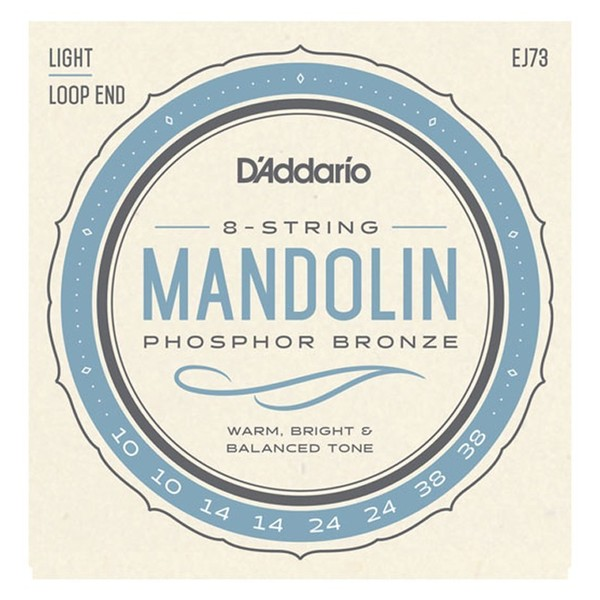 D'Addario J73 Mandolin Strings, Phosphor Bronze, Light 10-38 front view
