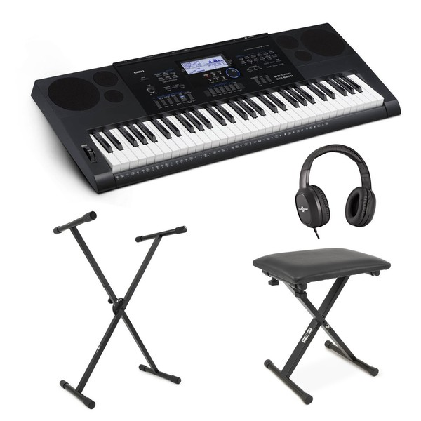 Casio CTK-6200 Portable Keyboard with Bench, Headphones + Stand