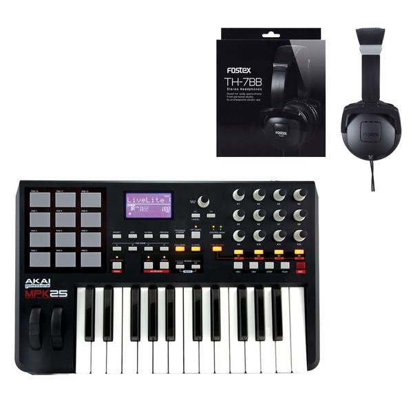 DISC Akai MPK25 MIDI Controller Keyboard and Fostex Headphones