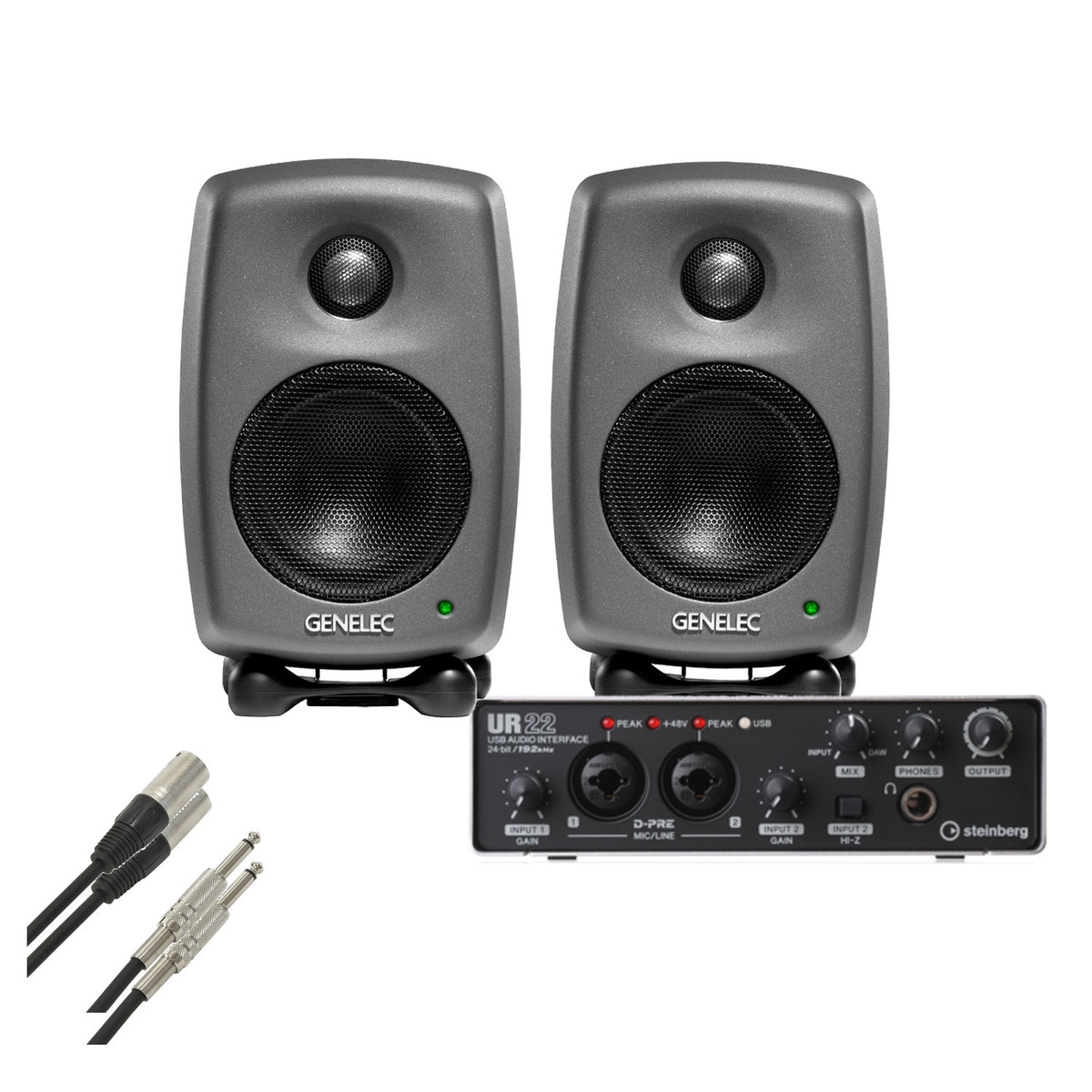 disc genelec 8010 studio monitors with steinberg ur22 and cables at gear4music. Black Bedroom Furniture Sets. Home Design Ideas