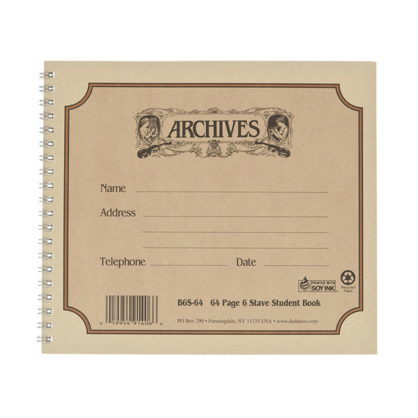 D'Addario Archives 6 Stave, 64 Pages, Spiral Student Book