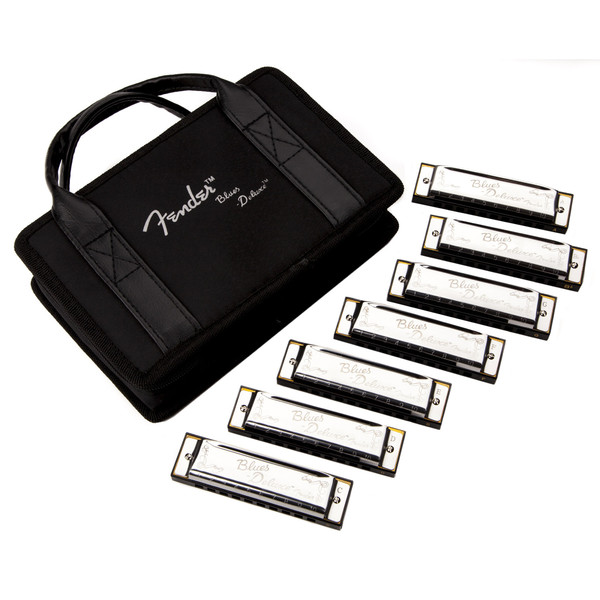 Fender Blues Deluxe Harmonica, 7 Pack with Case